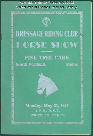 Dressage Riding Club show program, South Portland, 1937