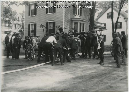 Volunteer firefighters, Saco, ca. 1910