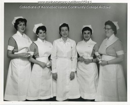 Maine School of Practical Nursing class officers, Waterville, 1963
