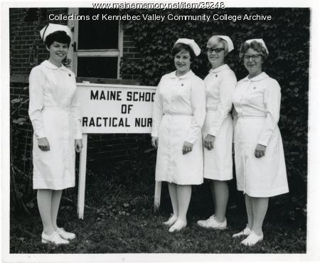 Maine School of Practical Nursing class officers, Waterville, 1967