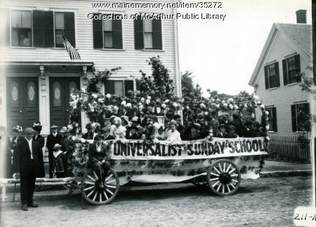 Universalist Church float, Biddeford, 1916