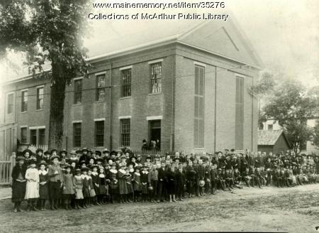 Pupils and teachers of Spruce Street School, Biddeford, 1886
