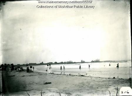 People on the beach at Biddeford Pool, 1909