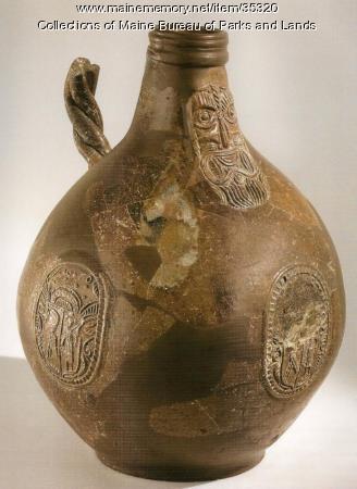 Restored Bellarmine Stoneware Jug, Bristol, 1610