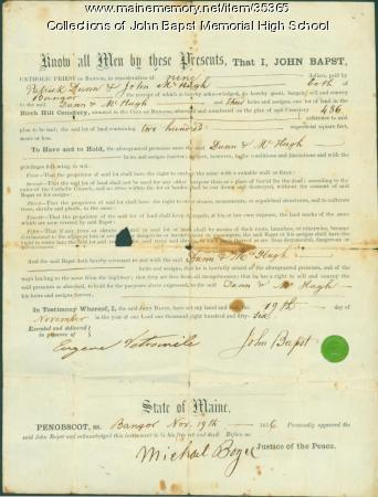 John Bapst transfer of cemetery lot ownership, Bangor, 1856