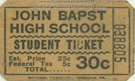 John Bapst High School Lunch Ticket, Bangor, 1962