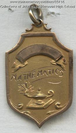 John  Bapst High School Academic Pin for Mathematics, Bangor, 1929