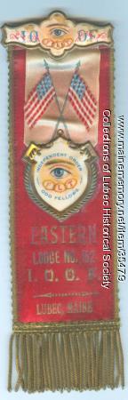 I.O.O.F. Badge, Lubec, 1893-1933