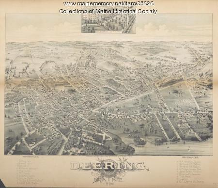Bird's-eye view of Deering, 1886