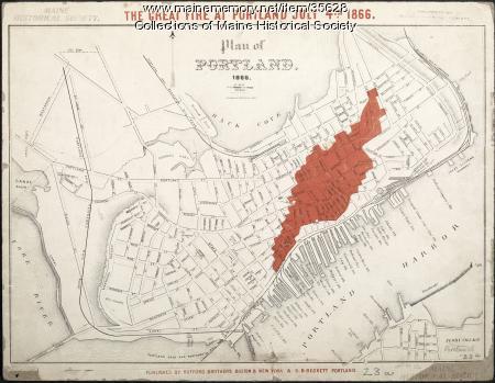 Map of 1866 Portland Fire