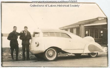 Homemade automobile, Lubec, 1935