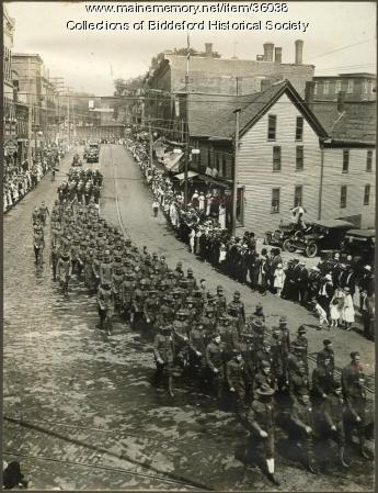 Soldiers parade march, Main street, Biddeford, 1917