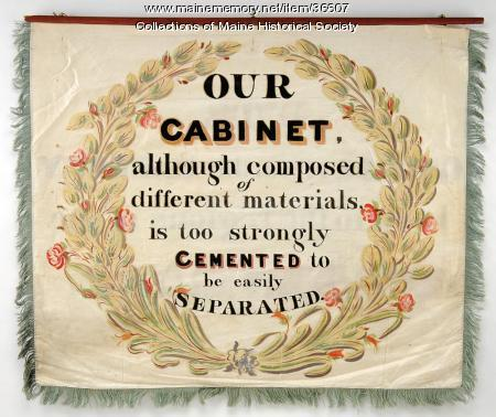 Cabinet makers' trade banner, Portland, 1841