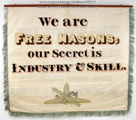 Masons and stone cutters banner, Portland, 1841