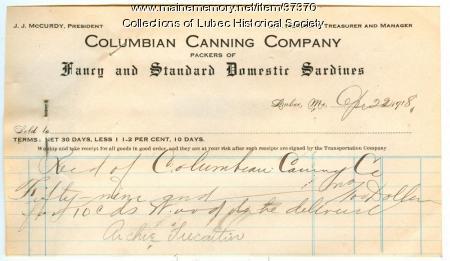 Receipt, Columbian Canning Co., Lubec, 1918