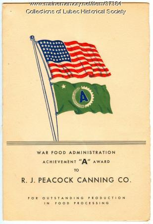 Front page of World War II Award, Lubec, 1944