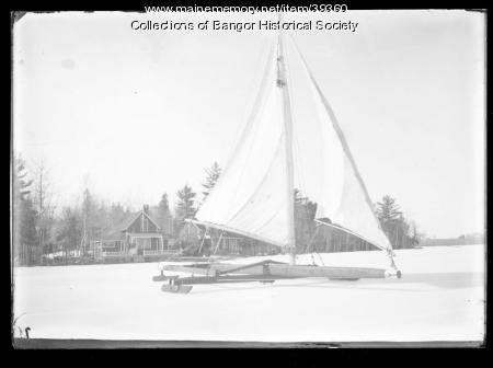 Ice Boat on Lake Pushaw, near Bangor, ca. 1895