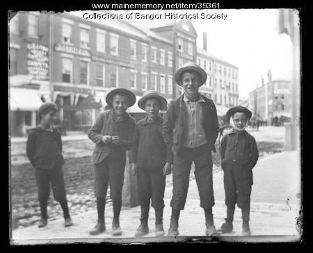 Boys on Main Street, Bangor, ca. 1895