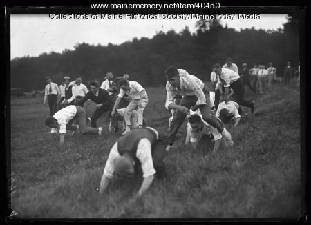 Kiwanis leap frog game, Scarborough, 1920