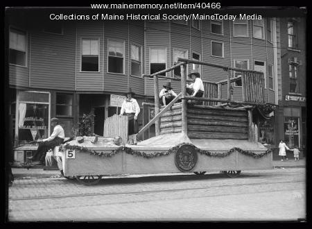 Maine Centennial parade, Fort St. George float, Portland, 1920