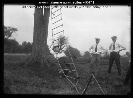 Rope ladder climb, Scarborough, 1920