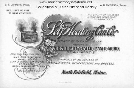 Self Heating Can Company, North Fairfield, ca. 1890