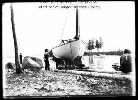 Sailboat in Transition, Pushaw Lake, ca. 1895