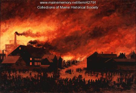 Painting of Great Fire, Portland, 1866