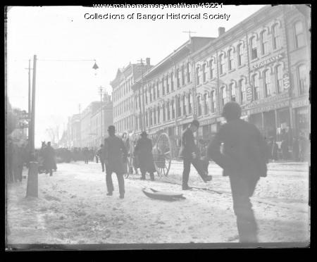 Winter downtown, Bangor, ca. 1895