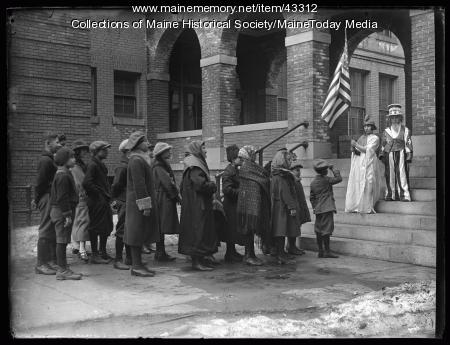 Students in Americanization Pageant greet new comers, Chestnut Street School, Portland, 1924