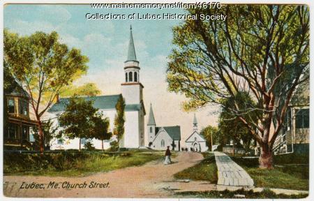 Three churches, Lubec, ca. 1907