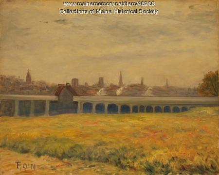 O'Neil painting of Portland bridge, 1918