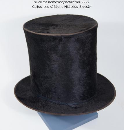 Black fur top hat, Portland, ca. 1855
