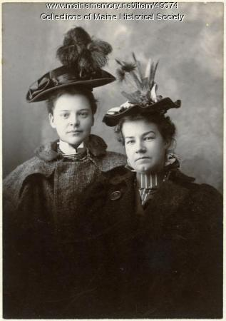 Young women in hats, Freeport, ca. 1900