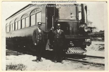 """Portland-Lewiston Interurban's car #14 """"Narcissus"""", Gray, ca. 1930"""