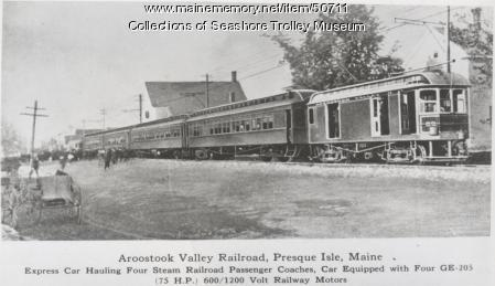 Aroostook Valley Railroad car #52, Presque Isle, ca. 1915