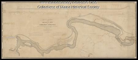 A.W. Longfellow map of Presumpscot River, Windham, 1840