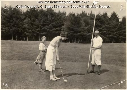 Girl playing golf, Fairfield, ca.1930