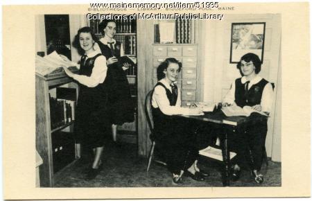 """Bibliotheque"" at Marie-Joseph Academy, Biddeford Pool, ca. 1950"
