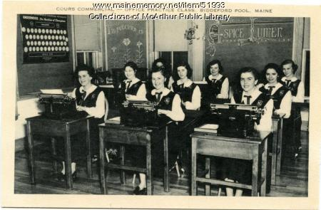 """""""Cours Commercial"""" at Marie-Joseph Academy, Biddeford Pool, ca. 1950"""