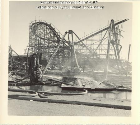 Roller Coaster remains, Old Orchard fire, Old Orchard Beach, 1948