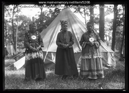 Susan Neptune, Fannie Newell, and Mary Frances at the Maine Centennial, Portland, 1920
