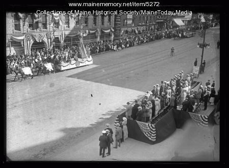Maine Centennial Parade reviewing stand, Portland, 1920