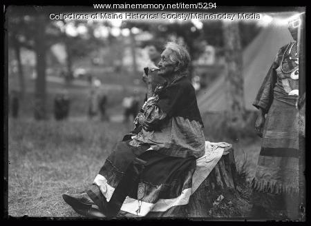 "Clara Neptune at the ""Indian Village"" during the Maine Centennial, Portland, 1920"