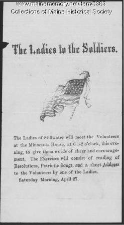 Ladies to the Soldiers, Stillwater, 1861