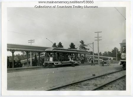 Merrymeeting Park trolley stop, Brunswick, ca. 1902