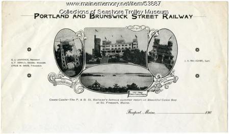 Portland and Brunswick Street Railway letterhead, ca. 1906