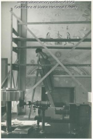 Mildred Burrage working on mural, Bryn Mawr, ca. 1940