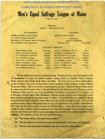 Men's Equal Suffrage League of Maine brochure