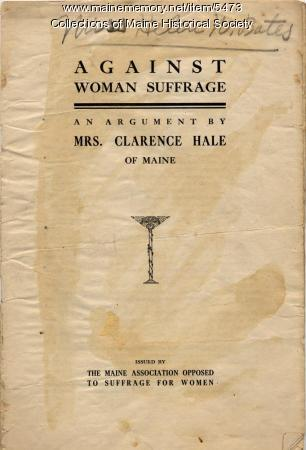 Anti woman suffrage booklet, ca. 1915